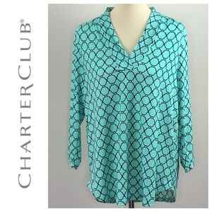 Charter Club 3/4 Sleeve High Low Mint Green L